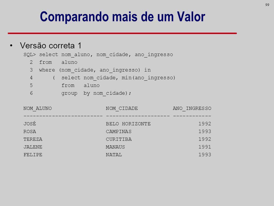 99 Comparando mais de um Valor Versão correta 1 SQL> select nom_aluno, nom_cidade, ano_ingresso 2 from aluno 3 where (nom_cidade, ano_ingresso) in 4 (