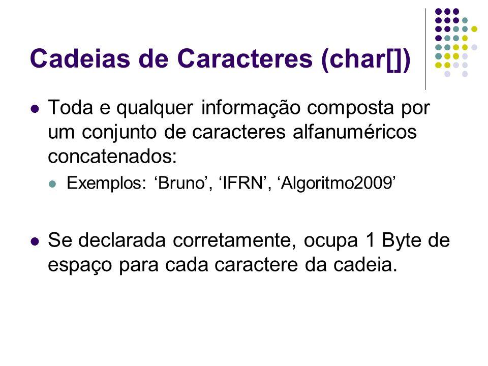 Cadeias de Caracteres (char[]) Toda e qualquer informação composta por um conjunto de caracteres alfanuméricos concatenados: Exemplos: Bruno, IFRN, Al