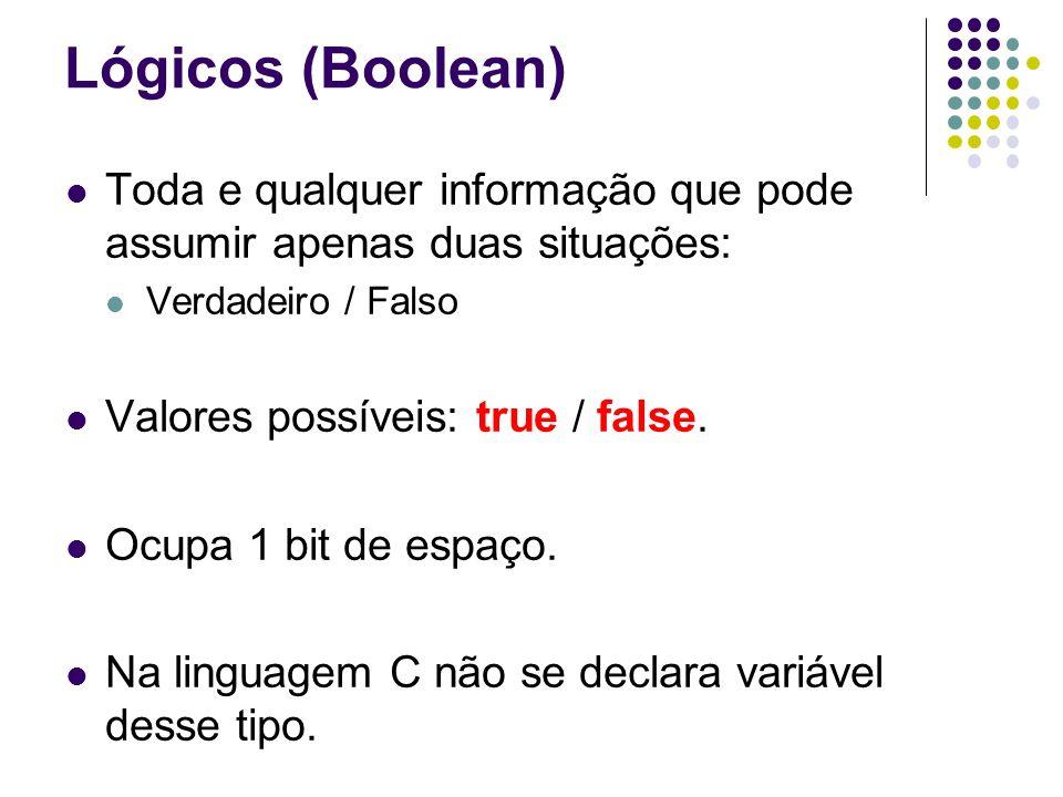 Lógicos (Boolean) Toda e qualquer informação que pode assumir apenas duas situações: Verdadeiro / Falso Valores possíveis: true / false. Ocupa 1 bit d