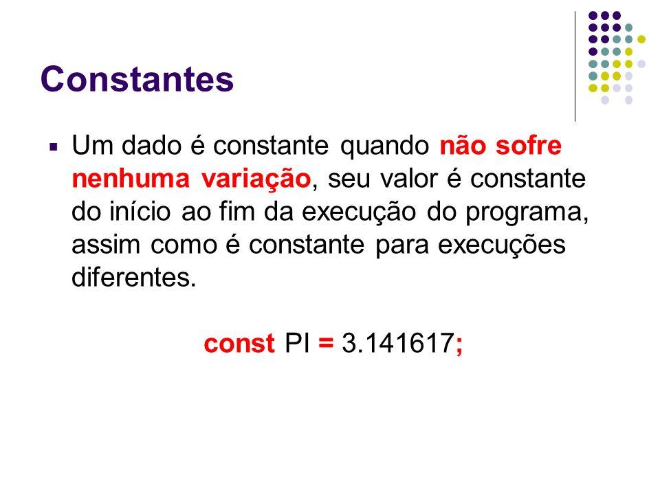 Constantes Um dado é constante quando não sofre nenhuma variação, seu valor é constante do início ao fim da execução do programa, assim como é constan