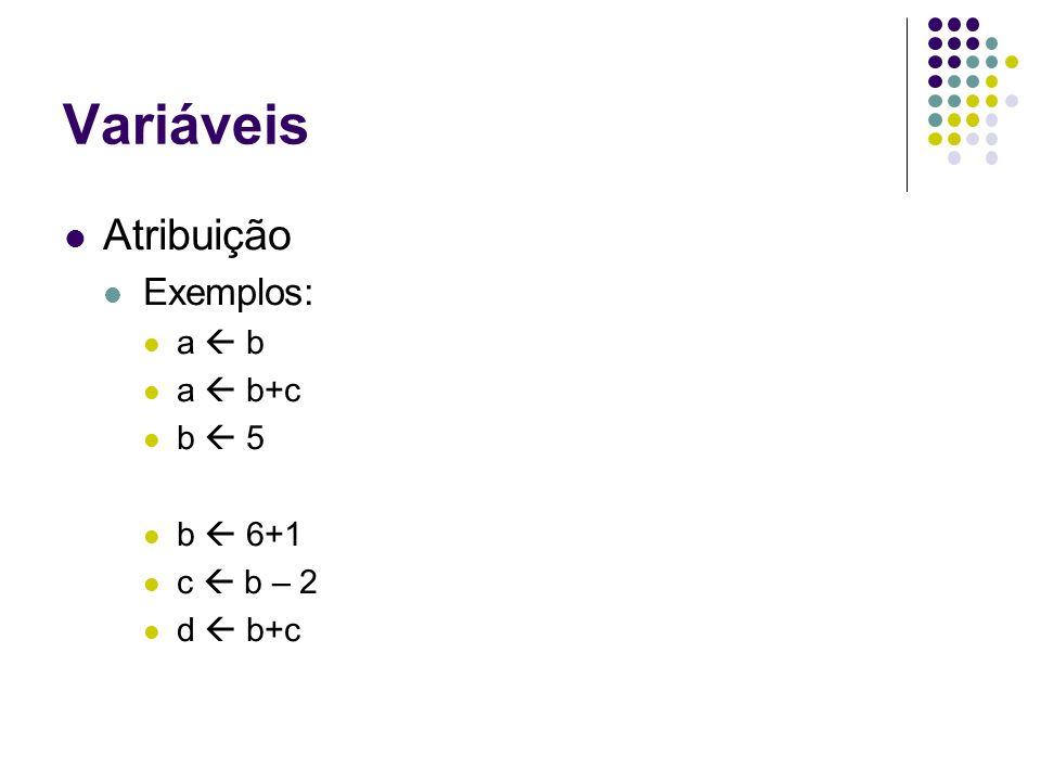 Variáveis Atribuição Exemplos: a b a b+c b 5 b 6+1 c b – 2 d b+c