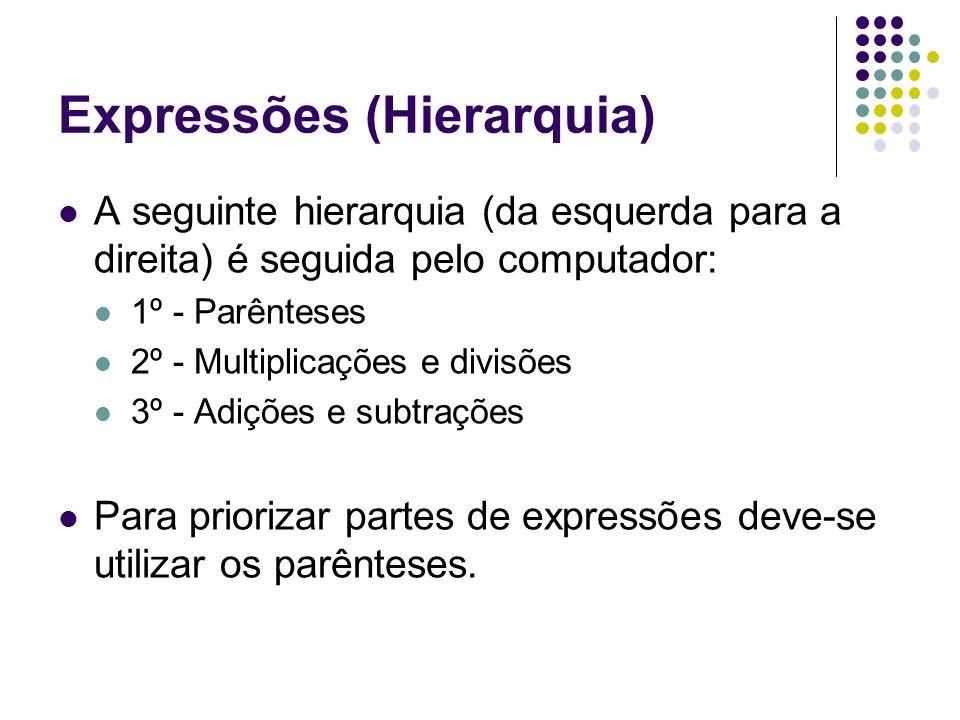 Expressões (Hierarquia) A seguinte hierarquia (da esquerda para a direita) é seguida pelo computador: 1º - Parênteses 2º - Multiplicações e divisões 3