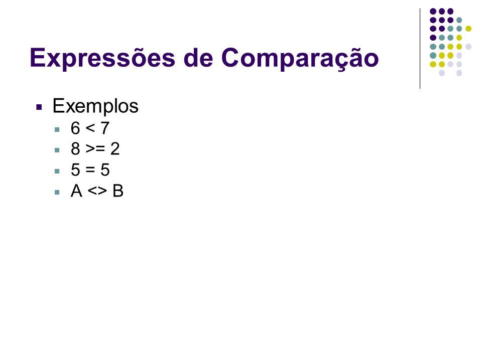 Expressões de Comparação Exemplos 6 < 7 8 >= 2 5 = 5 A <> B