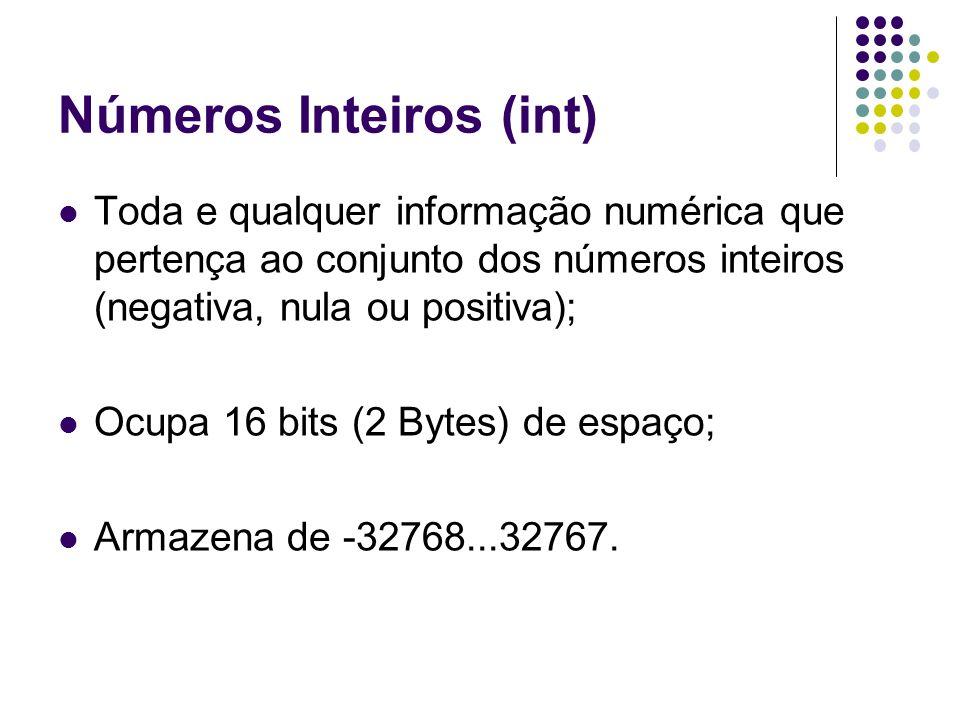Números Reais (float) Toda e qualquer informação numérica que pertença ao conjunto dos números reais (negativa, nula ou positiva); Ocupa 6 Bytes de espaço; Armazena de -2.9e39...1.7e38.