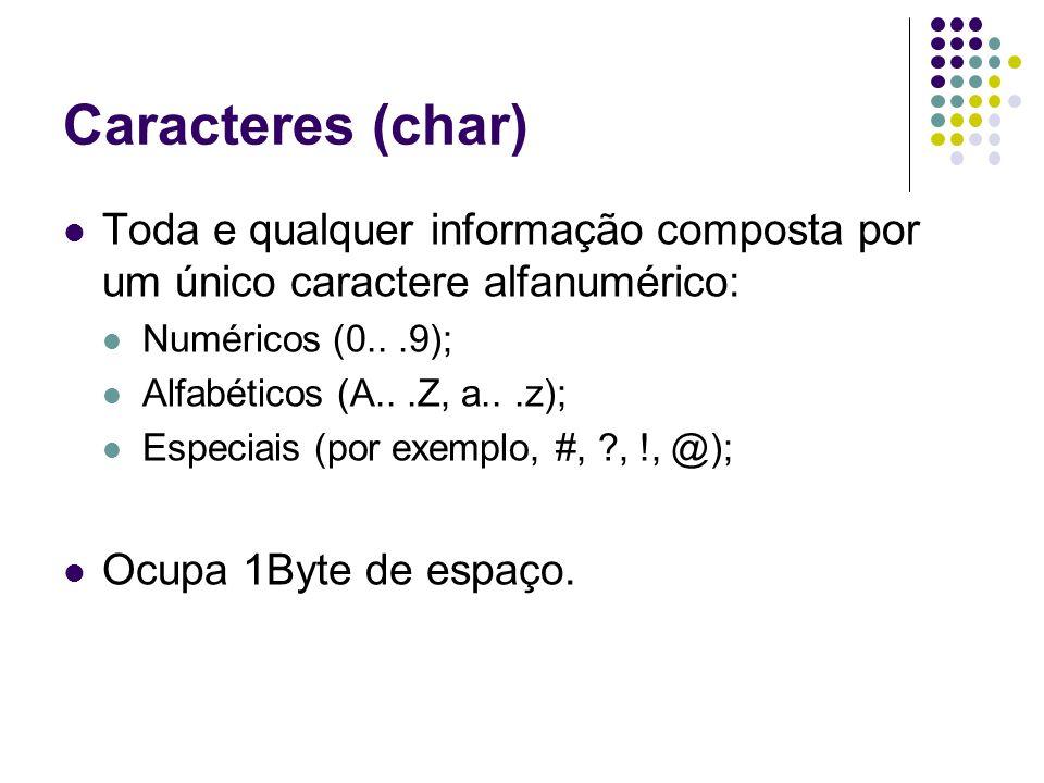 Caracteres (char) Toda e qualquer informação composta por um único caractere alfanumérico: Numéricos (0...9); Alfabéticos (A...Z, a...z); Especiais (p