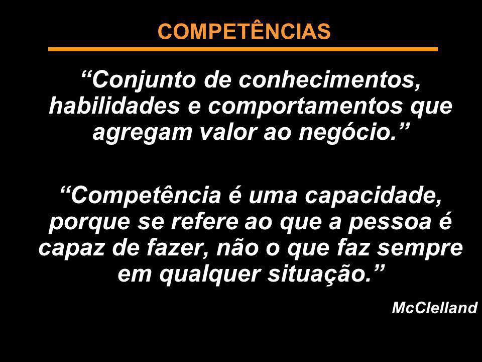 COMPETÊNCIAS Conjunto de conhecimentos, habilidades e comportamentos que agregam valor ao negócio. Competência é uma capacidade, porque se refere ao q
