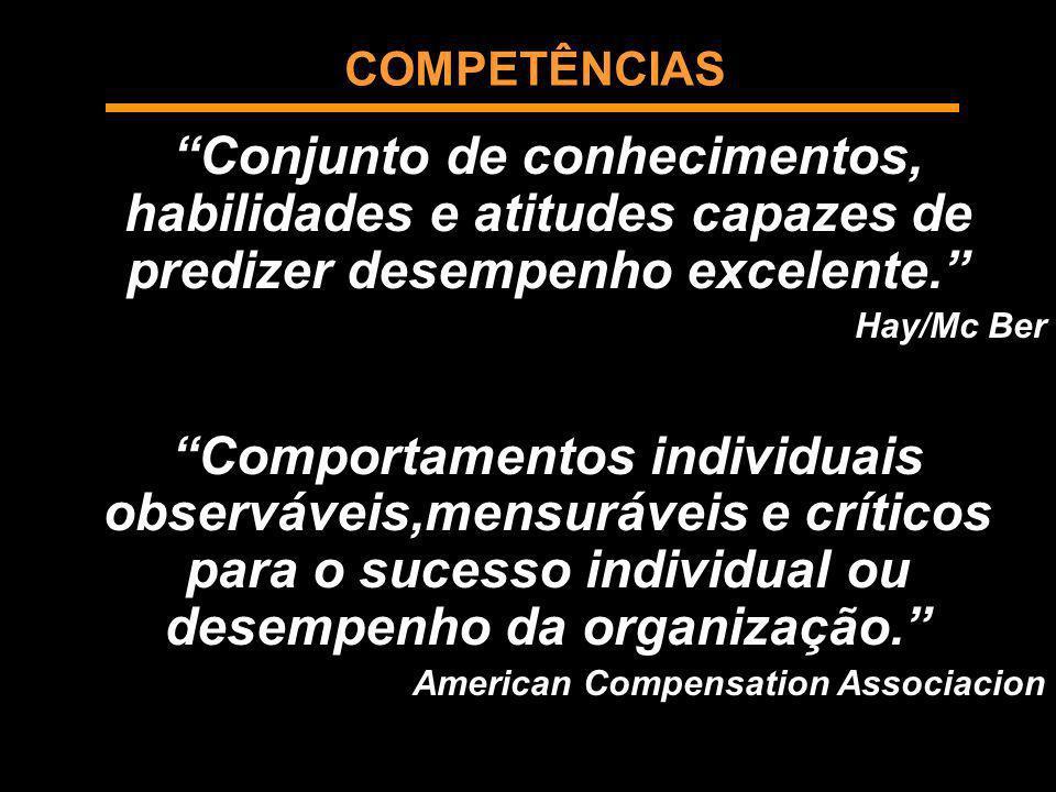 COMPETÊNCIAS Conjunto de conhecimentos, habilidades e atitudes capazes de predizer desempenho excelente. Hay/Mc Ber Comportamentos individuais observá