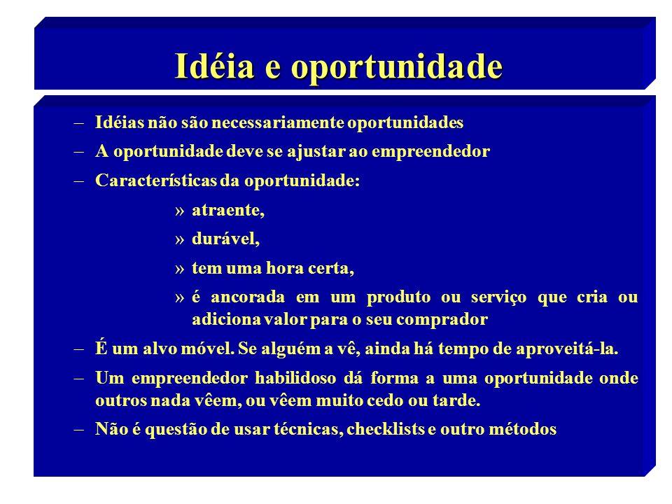 2 Idéia e oportunidade –Idéias não são necessariamente oportunidades –A oportunidade deve se ajustar ao empreendedor –Características da oportunidade: