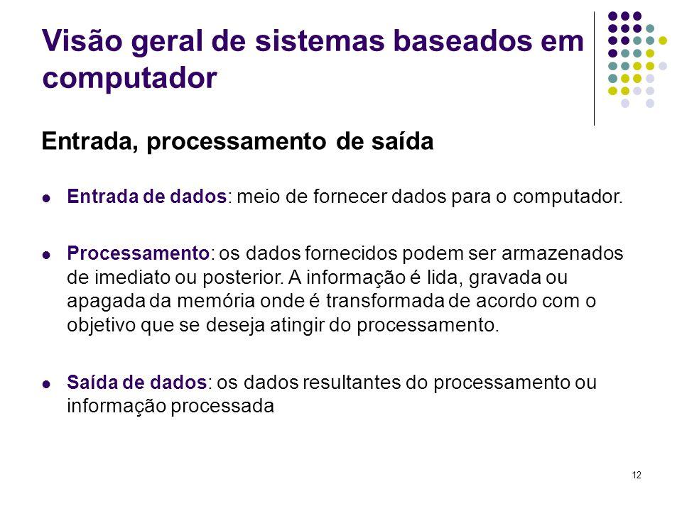 12 Entrada, processamento de saída Entrada de dados : meio de fornecer dados para o computador. Processamento : os dados fornecidos podem ser armazena