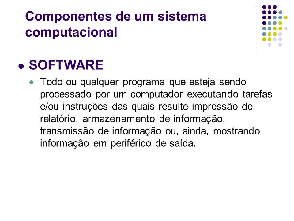 SOFTWARE Todo ou qualquer programa que esteja sendo processado por um computador executando tarefas e/ou instruções das quais resulte impressão de rel