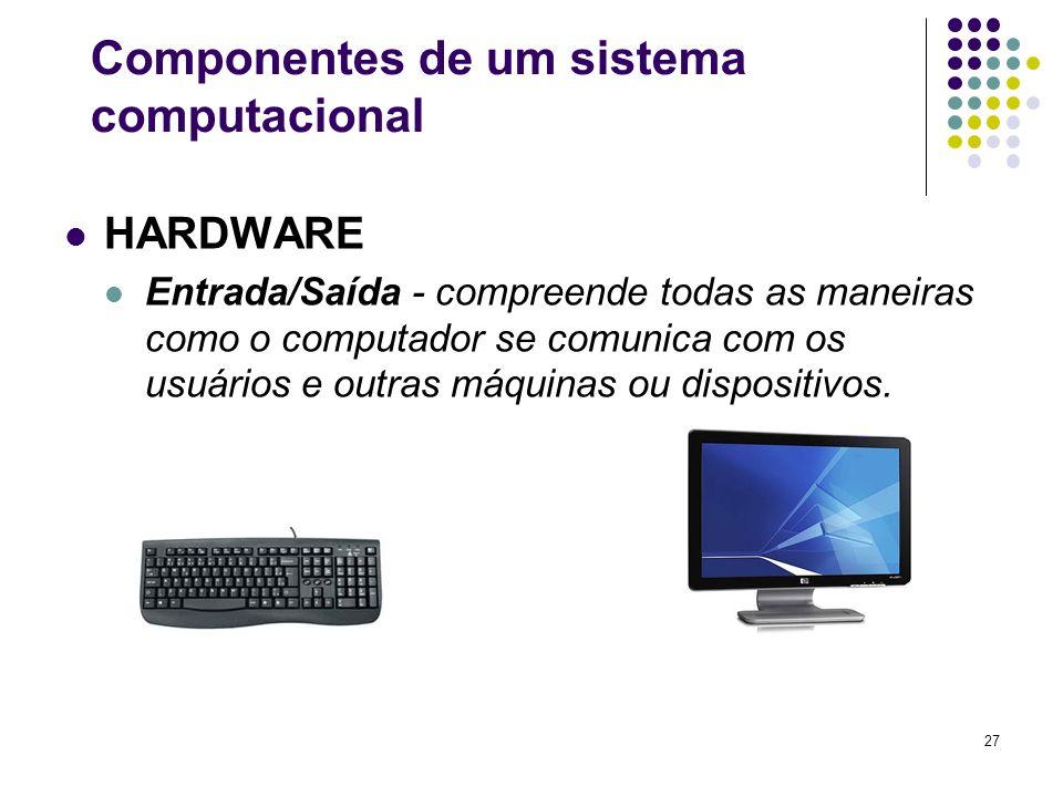 27 HARDWARE Entrada/Saída - compreende todas as maneiras como o computador se comunica com os usuários e outras máquinas ou dispositivos. Componentes