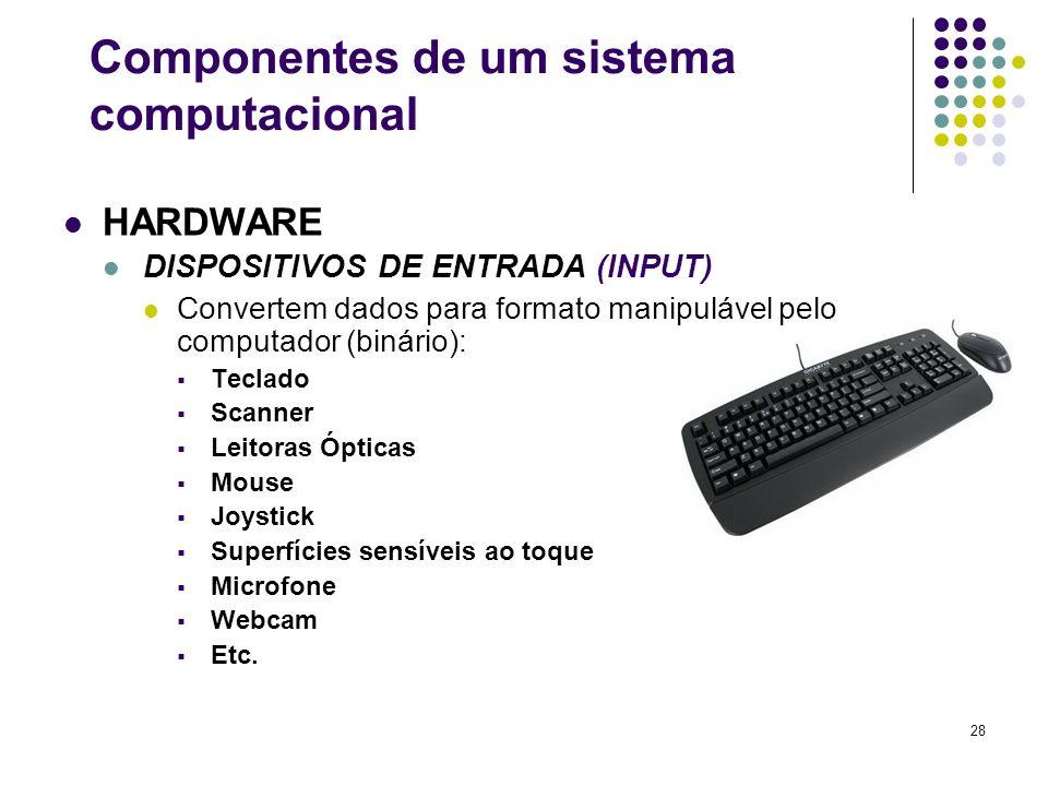 28 HARDWARE DISPOSITIVOS DE ENTRADA (INPUT) Convertem dados para formato manipulável pelo computador (binário): Teclado Scanner Leitoras Ópticas Mouse
