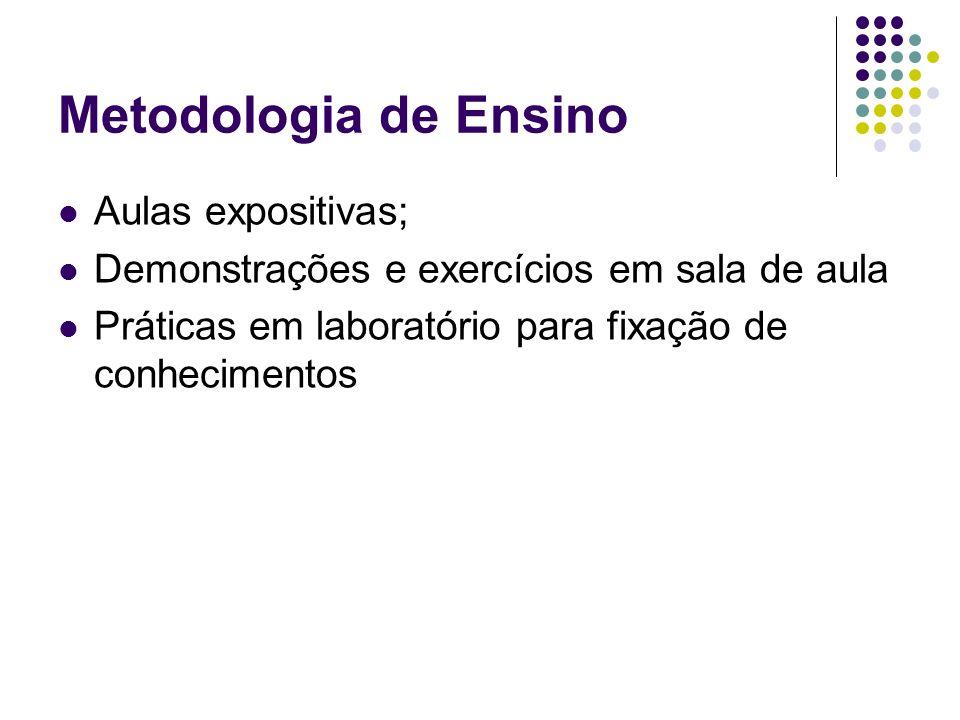 Metodologia de Ensino Aulas expositivas; Demonstrações e exercícios em sala de aula Práticas em laboratório para fixação de conhecimentos