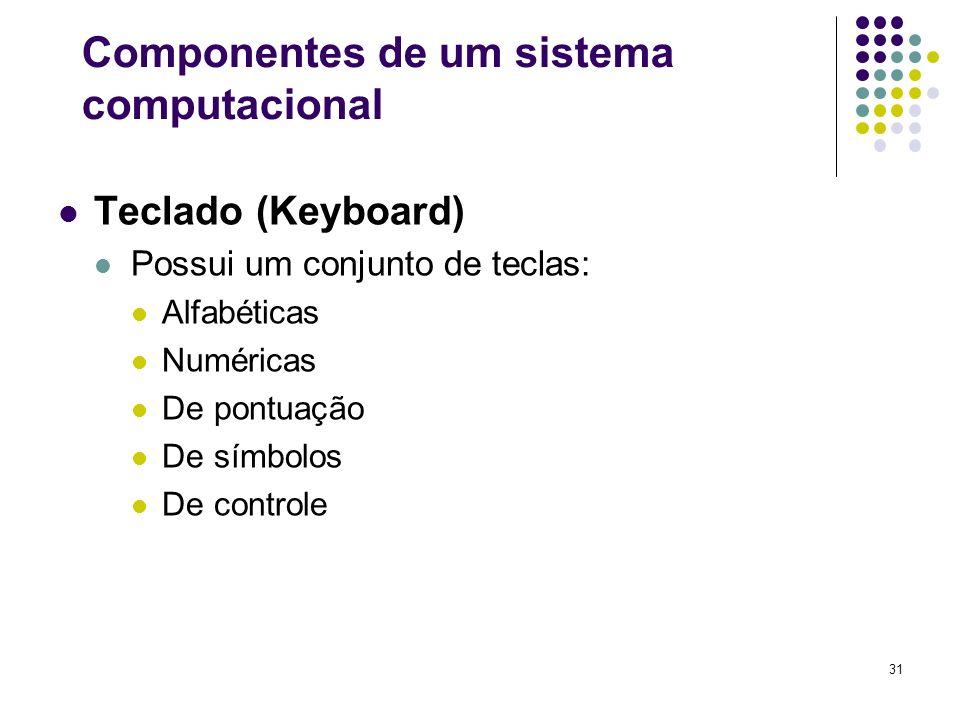 31 Teclado (Keyboard) Possui um conjunto de teclas: Alfabéticas Numéricas De pontuação De símbolos De controle Componentes de um sistema computacional