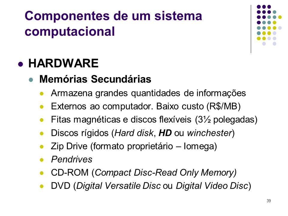39 HARDWARE Memórias Secundárias Armazena grandes quantidades de informações Externos ao computador. Baixo custo (R$/MB) Fitas magnéticas e discos fle