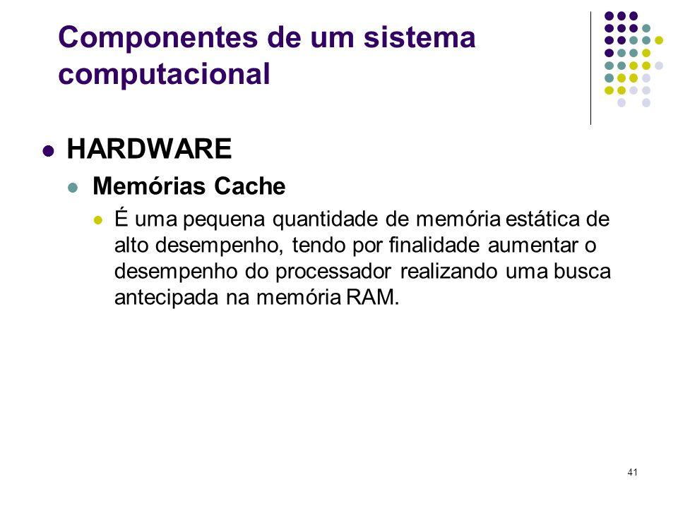 41 HARDWARE Memórias Cache É uma pequena quantidade de memória estática de alto desempenho, tendo por finalidade aumentar o desempenho do processador