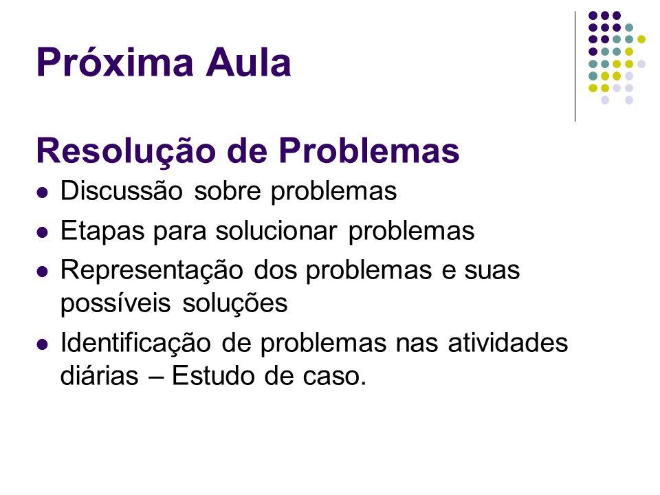 Próxima Aula Resolução de Problemas Discussão sobre problemas Etapas para solucionar problemas Representação dos problemas e suas possíveis soluções I