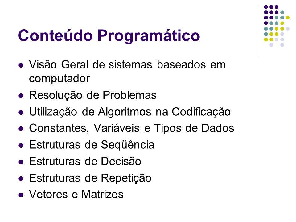 Conteúdo Programático Visão Geral de sistemas baseados em computador Resolução de Problemas Utilização de Algoritmos na Codificação Constantes, Variáv