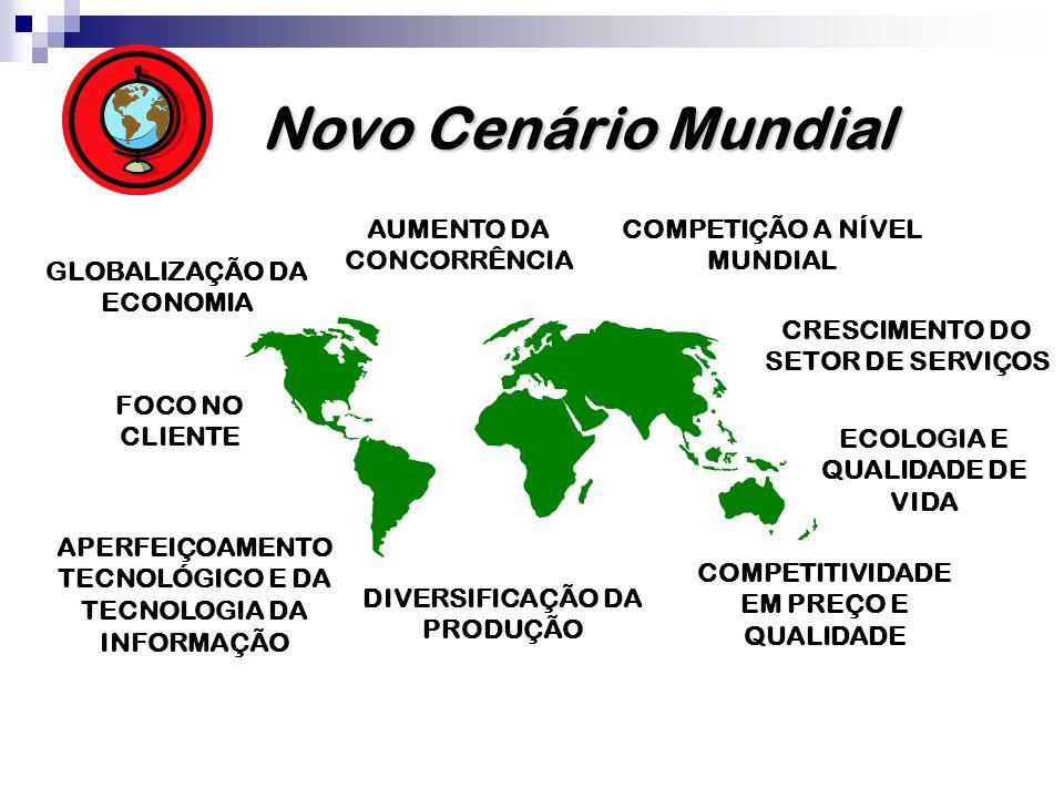 Novo Cenário Mundial COMPETIÇÃO A NÍVEL MUNDIAL GLOBALIZAÇÃO DA ECONOMIA APERFEIÇOAMENTO TECNOLÓGICO E DA TECNOLOGIA DA INFORMAÇÃO DIVERSIFICAÇÃO DA PRODUÇÃO COMPETITIVIDADE EM PREÇO E QUALIDADE AUMENTO DA CONCORRÊNCIA FOCO NO CLIENTE CRESCIMENTO DO SETOR DE SERVIÇOS ECOLOGIA E QUALIDADE DE VIDA