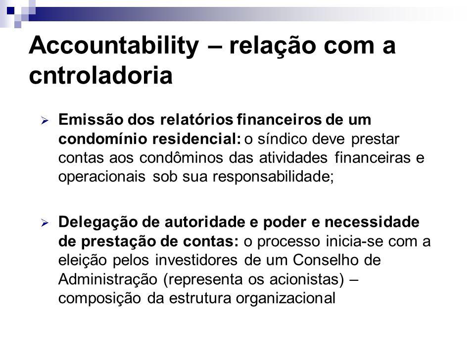Accountability – relação com a cntroladoria Accountability (conceito): prestação de contas dos resultados obtidos, em função das responsabilidades que