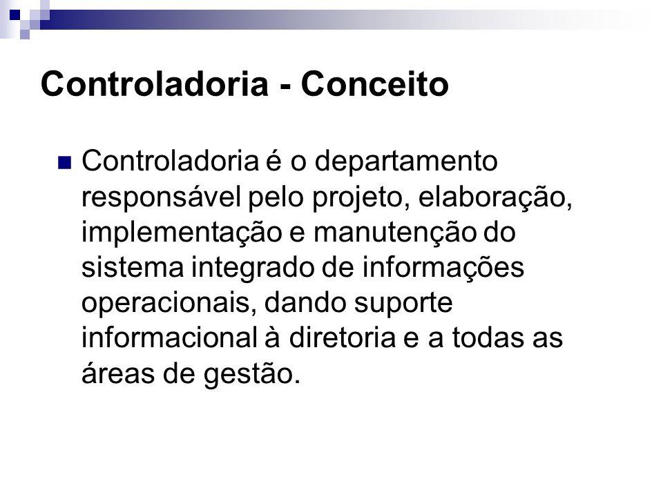 Controladoria - Conceito Controladoria é o departamento responsável pelo projeto, elaboração, implementação e manutenção do sistema integrado de informações operacionais, dando suporte informacional à diretoria e a todas as áreas de gestão.