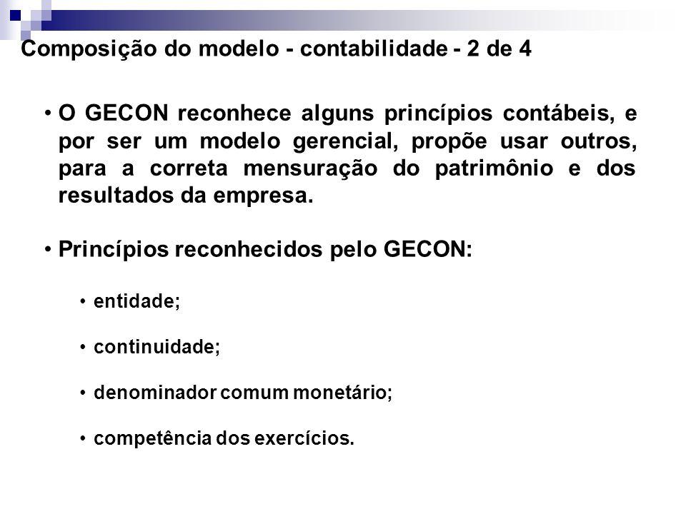 Composição do modelo - contabilidade - 1 de 4 O GECON registra os eventos e transações realizados através de partidas dobradas. Este método permite ar