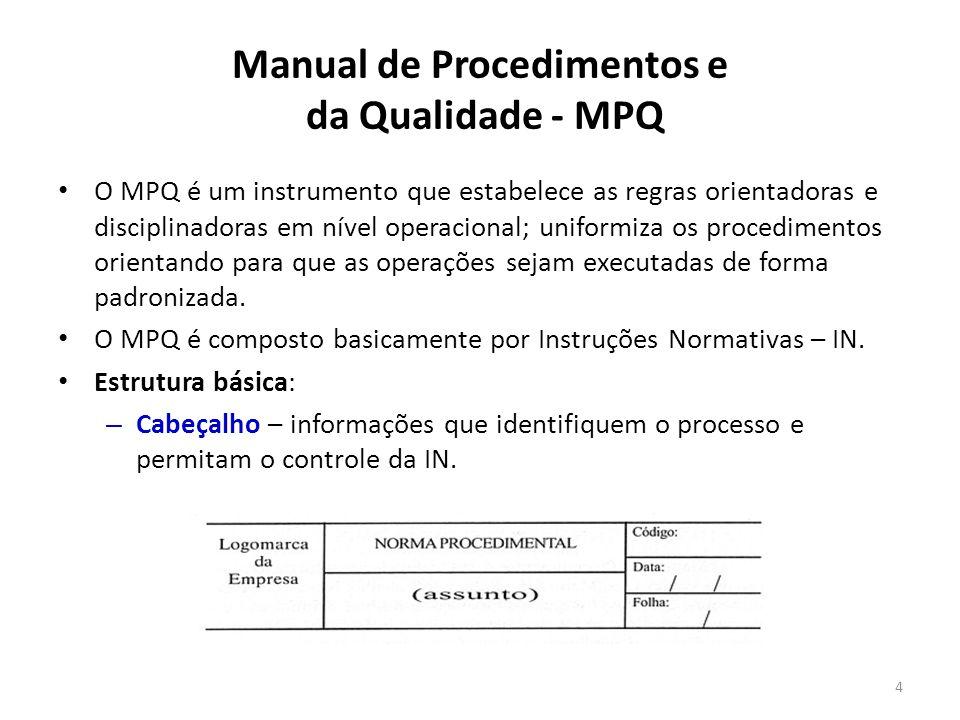 Manual de Procedimentos e da Qualidade - MPQ Conteúdo Básico do MPQ: – Finalidade – deve informar de maneira clara os objetivos da Norma Procedimental – NP.