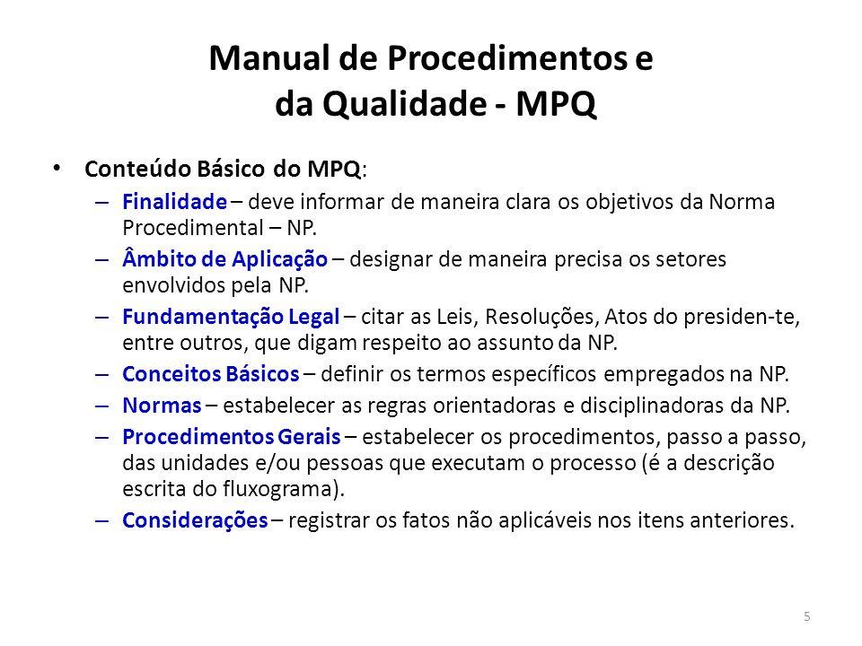 Manual de Procedimentos e da Qualidade - MPQ Conteúdo Básico do MPQ: – Finalidade – deve informar de maneira clara os objetivos da Norma Procedimental