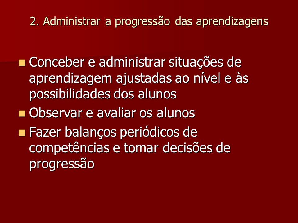 2. Administrar a progressão das aprendizagens Conceber e administrar situações de aprendizagem ajustadas ao nível e às possibilidades dos alunos Conce