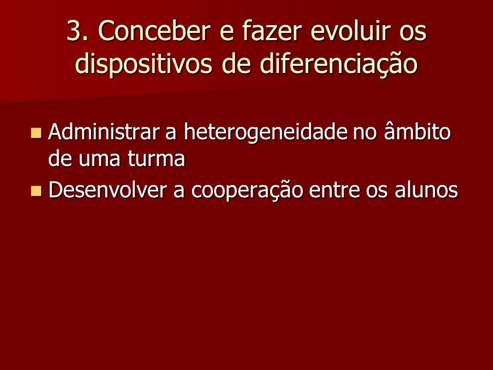3. Conceber e fazer evoluir os dispositivos de diferenciação Administrar a heterogeneidade no âmbito de uma turma Administrar a heterogeneidade no âmb