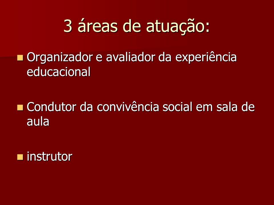 3 áreas de atuação: Organizador e avaliador da experiência educacional Organizador e avaliador da experiência educacional Condutor da convivência soci