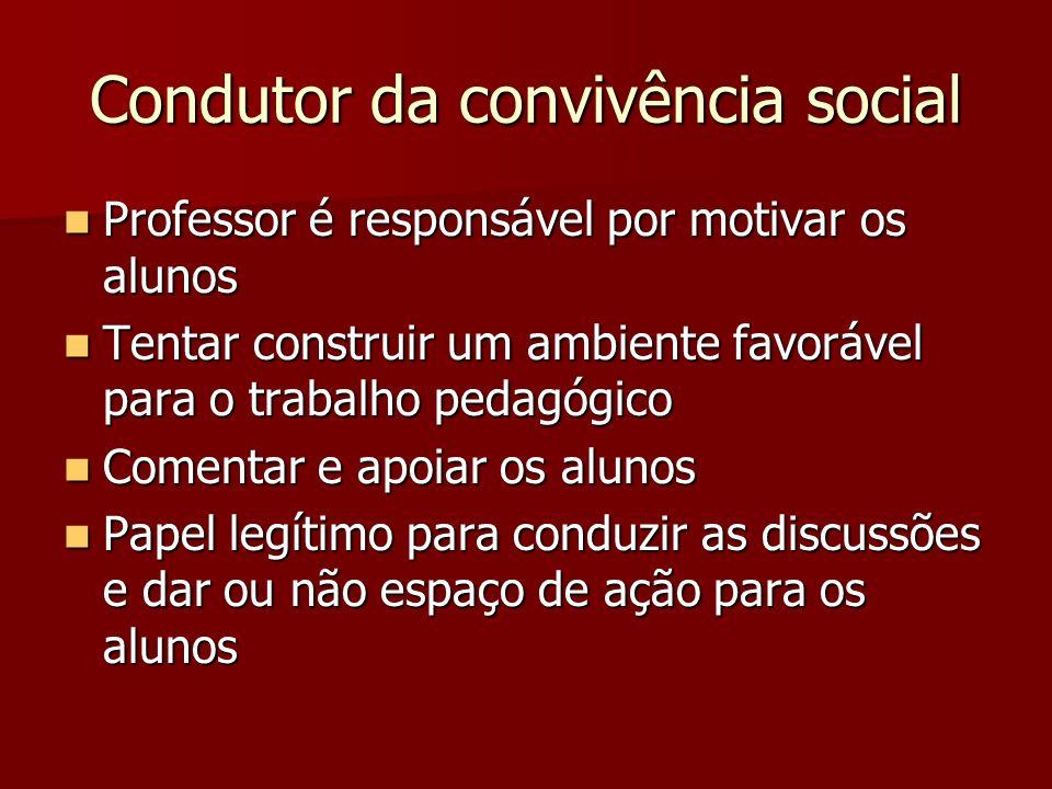 Condutor da convivência social Professor é responsável por motivar os alunos Professor é responsável por motivar os alunos Tentar construir um ambient