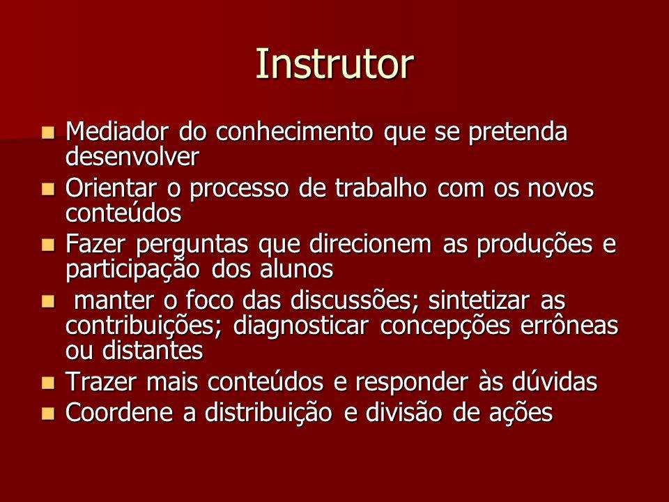 Instrutor Mediador do conhecimento que se pretenda desenvolver Mediador do conhecimento que se pretenda desenvolver Orientar o processo de trabalho co