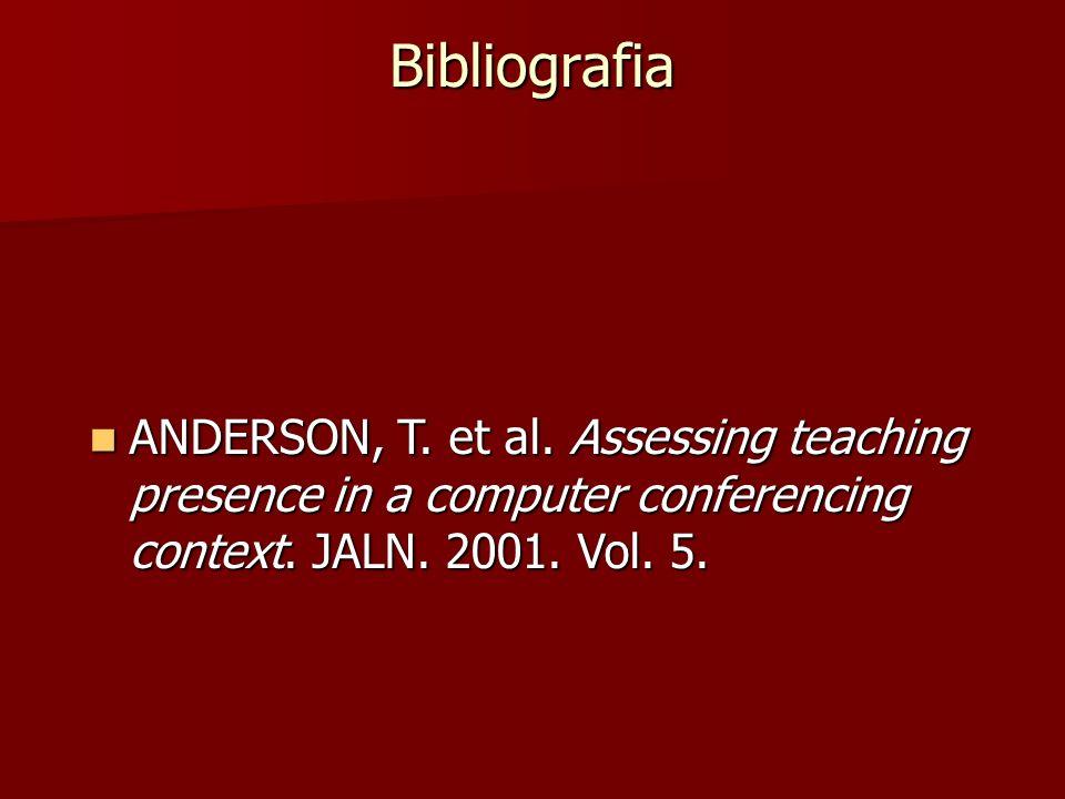 Bibliografia ANDERSON, T. et al. Assessing teaching presence in a computer conferencing context. JALN. 2001. Vol. 5. ANDERSON, T. et al. Assessing tea
