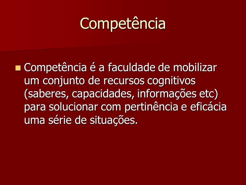 Competência Competência é a faculdade de mobilizar um conjunto de recursos cognitivos (saberes, capacidades, informações etc) para solucionar com pert