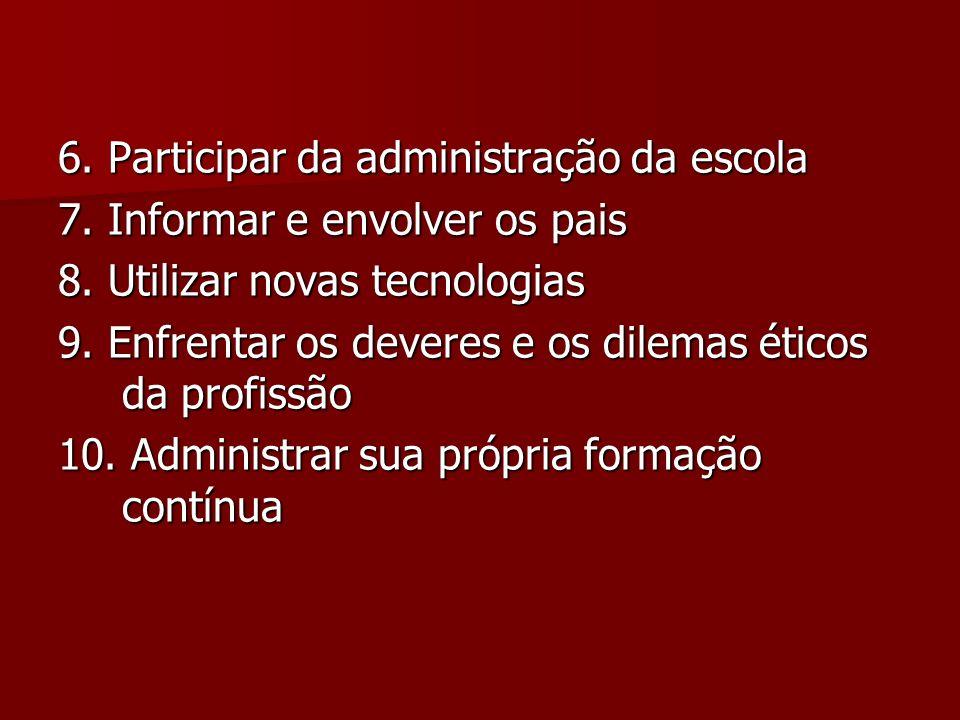 6. Participar da administração da escola 7. Informar e envolver os pais 8. Utilizar novas tecnologias 9. Enfrentar os deveres e os dilemas éticos da p