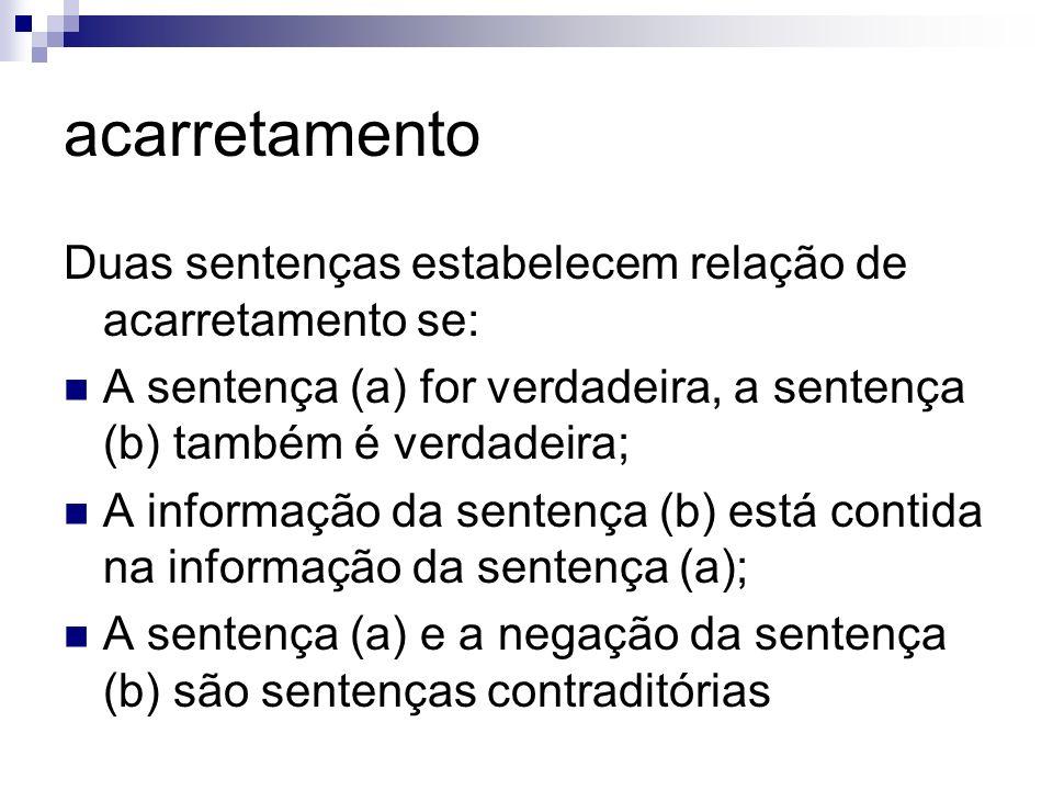 acarretamento Duas sentenças estabelecem relação de acarretamento se: A sentença (a) for verdadeira, a sentença (b) também é verdadeira; A informação