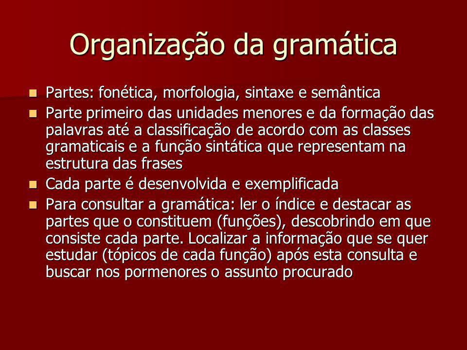 Organização da gramática Partes: fonética, morfologia, sintaxe e semântica Partes: fonética, morfologia, sintaxe e semântica Parte primeiro das unidad
