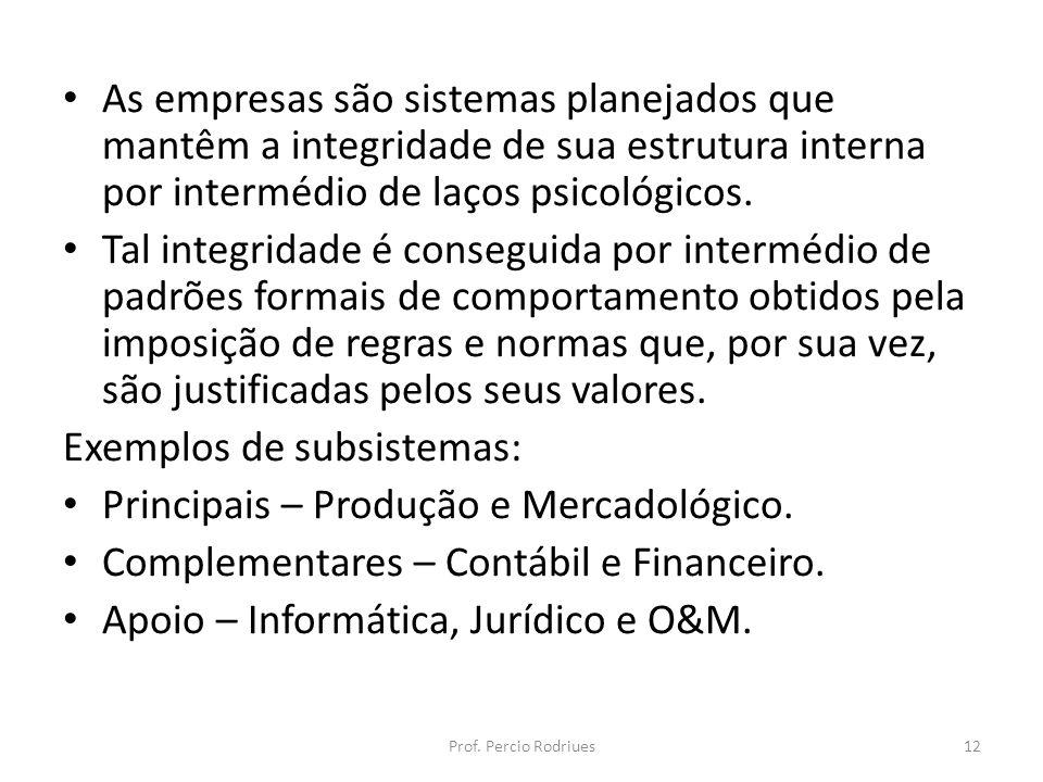 As empresas são sistemas planejados que mantêm a integridade de sua estrutura interna por intermédio de laços psicológicos. Tal integridade é consegui