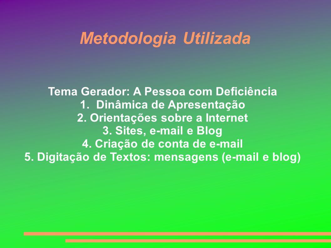 Metodologia Utilizada Tema Gerador: A Pessoa com Deficiência 1. Dinâmica de Apresentação 2. Orientações sobre a Internet 3. Sites, e-mail e Blog 4. Cr