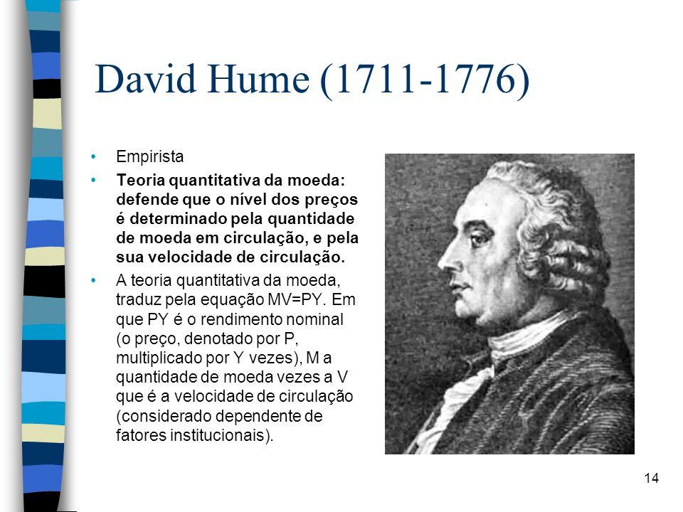 David Hume (1711-1776) Empirista Teoria quantitativa da moeda: defende que o nível dos preços é determinado pela quantidade de moeda em circulação, e