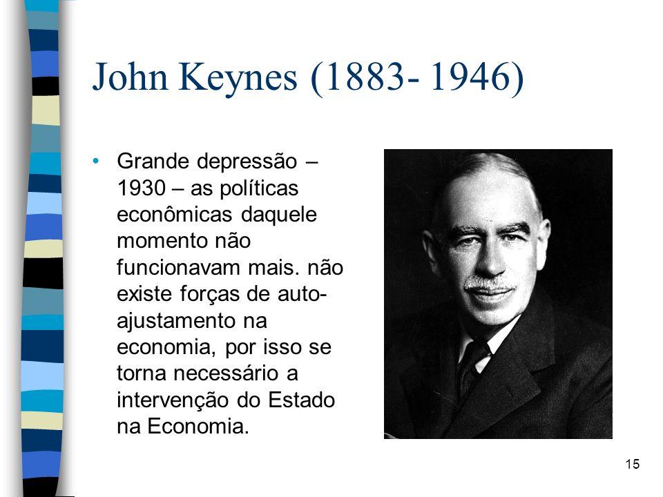 John Keynes (1883- 1946) Grande depressão – 1930 – as políticas econômicas daquele momento não funcionavam mais. não existe forças de auto- ajustament