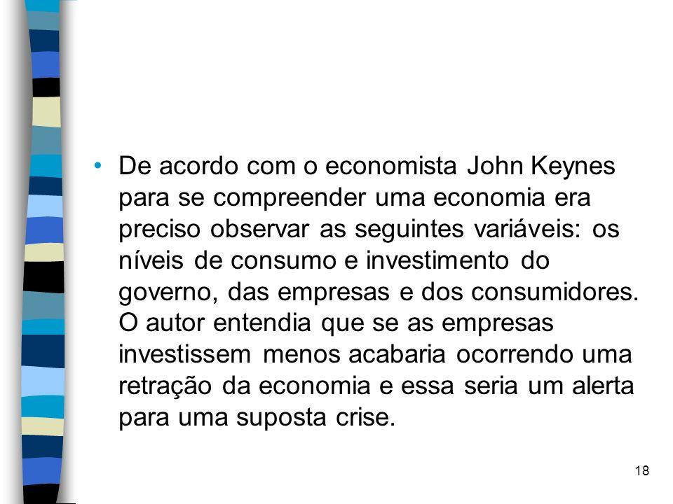 De acordo com o economista John Keynes para se compreender uma economia era preciso observar as seguintes variáveis: os níveis de consumo e investimen