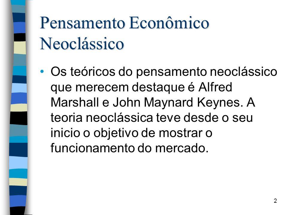 Pensamento Econômico Neoclássico Os teóricos do pensamento neoclássico que merecem destaque é Alfred Marshall e John Maynard Keynes. A teoria neocláss