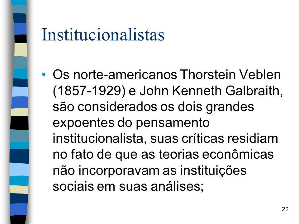 Institucionalistas Os norte-americanos Thorstein Veblen (1857-1929) e John Kenneth Galbraith, são considerados os dois grandes expoentes do pensamento