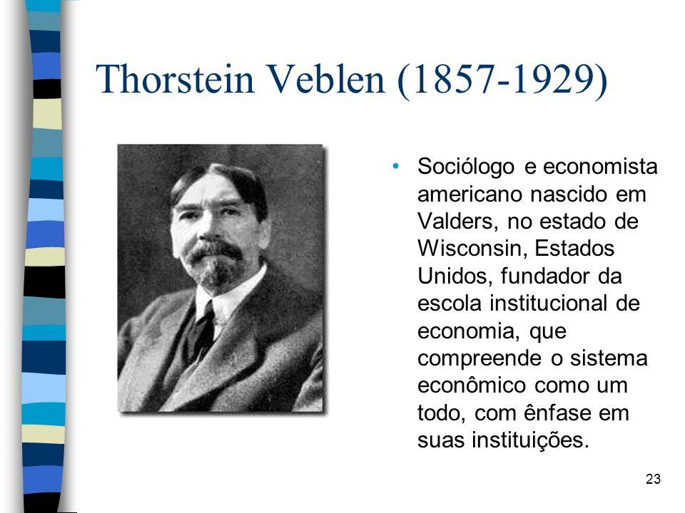 Thorstein Veblen (1857-1929) Sociólogo e economista americano nascido em Valders, no estado de Wisconsin, Estados Unidos, fundador da escola instituci