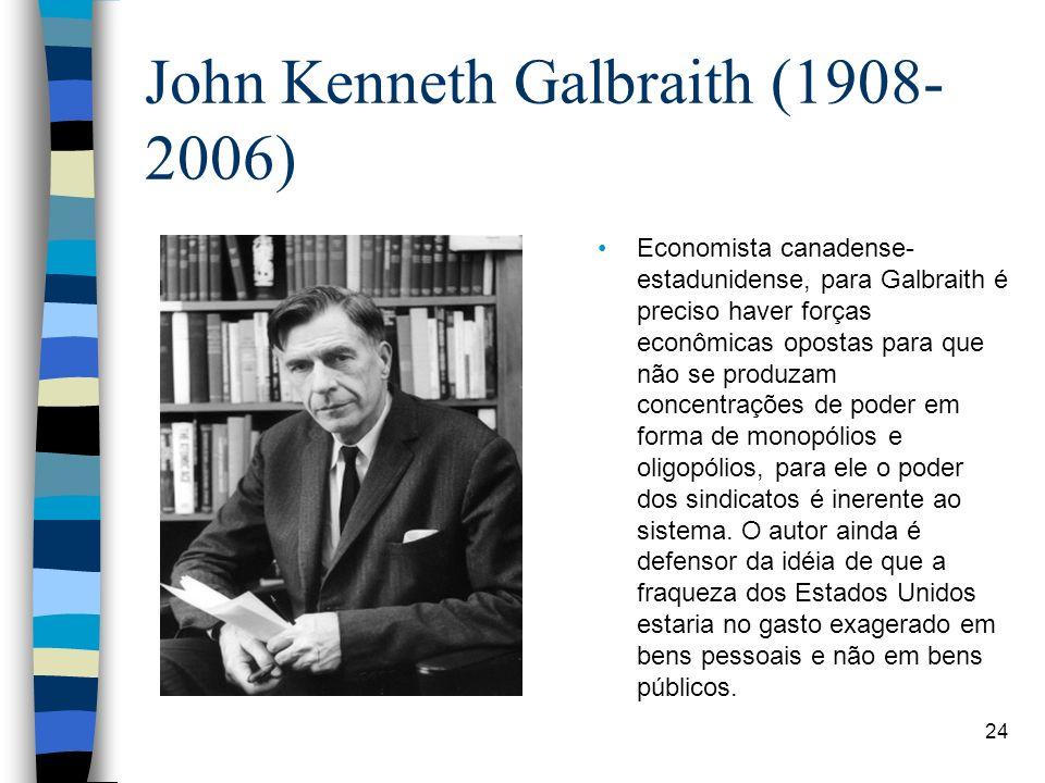 John Kenneth Galbraith (1908- 2006) Economista canadense- estadunidense, para Galbraith é preciso haver forças econômicas opostas para que não se prod
