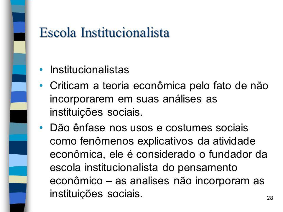 Escola Institucionalista Institucionalistas Criticam a teoria econômica pelo fato de não incorporarem em suas análises as instituições sociais. Dão ên