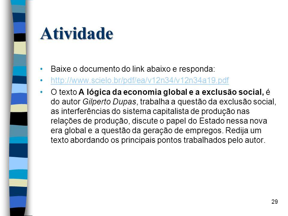 Atividade Baixe o documento do link abaixo e responda: http://www.scielo.br/pdf/ea/v12n34/v12n34a19.pdf O texto A lógica da economia global e a exclus