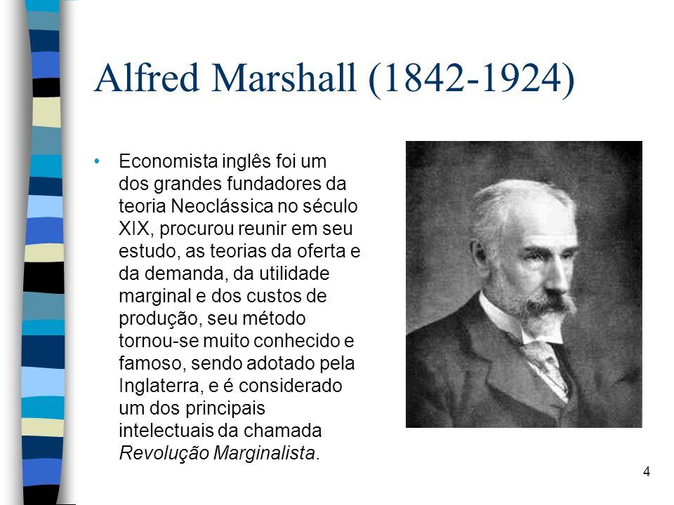 Alfred Marshall (1842-1924) Economista inglês foi um dos grandes fundadores da teoria Neoclássica no século XIX, procurou reunir em seu estudo, as teo
